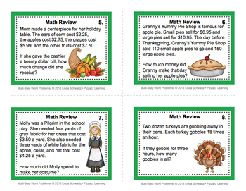 THANKSGIVING MULTI-STEP WORD PROBLEMS • TASK CARDS • GRADES 4–6