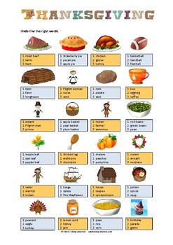 THANKSGIVING - MULTIPLE CHOICES ACTIVITY - 2