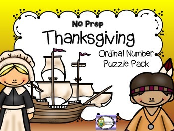 THANKSGIVING NO PREP ORDINAL NUMBER PUZZLE PACK
