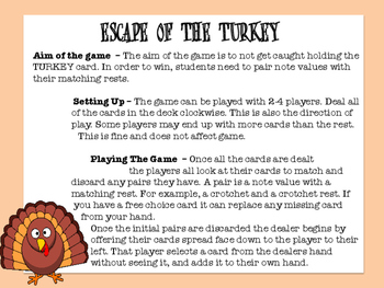 THANKSGIVING NOTES & RESTS GAME - TURKEY ESCAPE