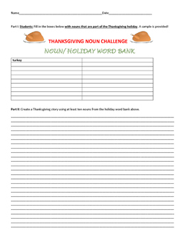 THANKSGIVING NOUN CHALLENGE