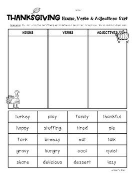 THANKSGIVING Nouns, Verbs and Adjectives Sorting Worksheets