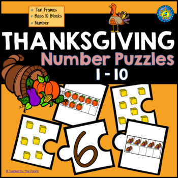THANKSGIVING Math Number Puzzles 1 – 10