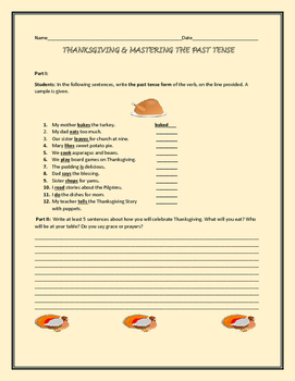 THANKSGIVING PAST TENSE ACTIVITY