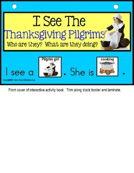 THANKSGIVING PILGRIMS Adapted Book - Build a Sentence Interactive Activity Book