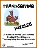 THANKSGIVING PUZZLES: SEARCH, WORD SCRAMBLE, CROSSWORD, Grades 3-5 Fun
