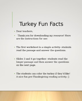 THANKSGIVING RESOURCE! Turkey fun facts! Reading comprehension!