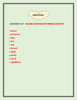 THANKSGIVING RHYMING ACTIVITY