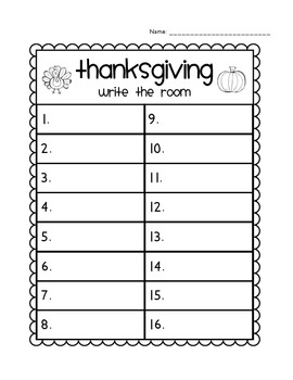 *THANKSGIVING* Read/Write Around the Room (Sight Words)