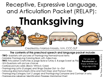 THANKSGIVING- Receptive, Expressive Language, and Articula