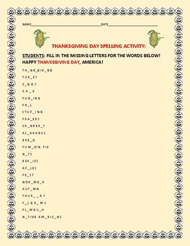THANKSGIVING SPELLING ACTIVITY