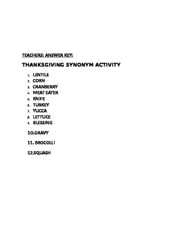 THANKSGIVING SYNONYM ACTIVITY