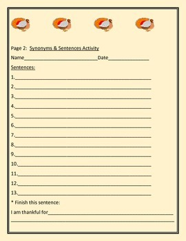 THANKSGIVING : SYNONYMS & SENTENCES ACTIVITY