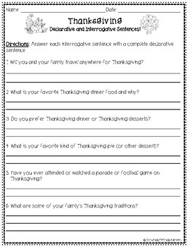 THANKSGIVING Sentence Types Interactive Game! (For BIG KIDS!)