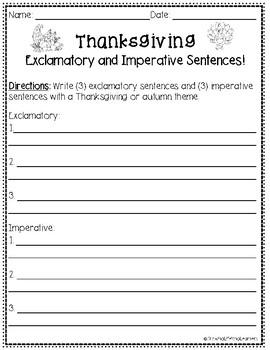 Thanksgiving Sentence Types (Set 2) Interactive Game!