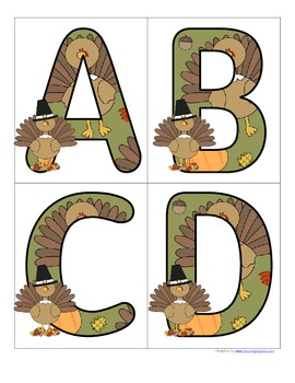 Thanksgiving alphabet free by kidsparkz teachers pay for Turkey template for bulletin board