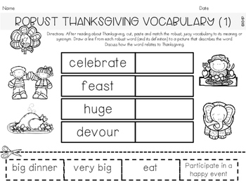 THANKSGIVING THEMED MINI UNIT (Addition, Expanding Vocbulary, Emergent Reader)