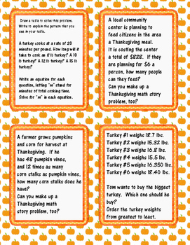 4th, 5th, 6th Grade Thanksgiving Task Cards