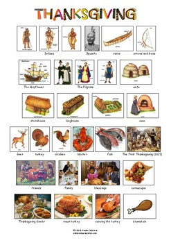 THANKSGIVING - VOCABULARY - PICTIONARY