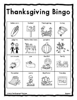 THANKSGIVING Vocabulary BINGO Make & Take, SPEECH THERAPY