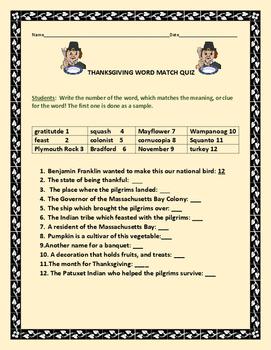 THANKSGIVING WORD MATCH QUIZ: GRADES 3-6