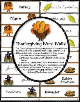 THANKSGIVING WORD WALLS in Fun Font, D'Nealian, & Cursive