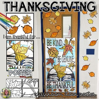 THANKSGIVING WRITING, AUTUMN COLLABORATIVE CLASSROOM DOOR POSTER, FALL THEME