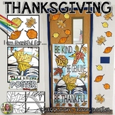 THANKSGIVING WRITING, AUTUMN COLLABORATIVE CLASSROOM DOOR POSTER, FALL THEME