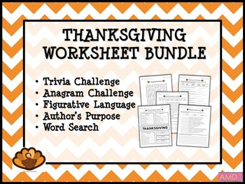 THANKSGIVING Worksheet Bundle (5 worksheets)