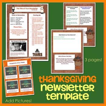 THANKSGIVING theme - Newsletter Template WORD