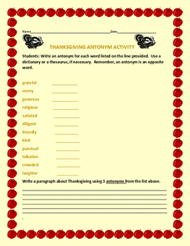 THANKSKGIVING ANTONYM ACTIVITY