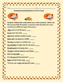 THANKSKGIVING PRONOUN ACTIVITY/QUIZ