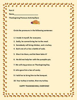 THANKSKGIVING PRONOUN ACTIVITY/QUIZ
