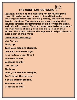 THE ADDITION RAP SONG GRADES 3-6