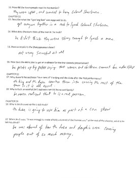 THE ADVENTURES OF HUCKLEBERRY FINN CH. 18-24 COMPREHENSION QUESTIONS WITH KEY