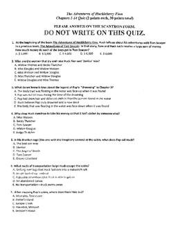 THE ADVENTURES OF HUCKLEBERRY FINN CHAPTERS 1-14 QUIZ W/ ANSWER KEY