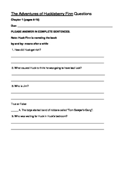 THE ADVENTURES OF HUCKLEBERRY FINN- QUESTIONS AND TEST-ADAPTED VERSION