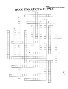 THE ADVENTURES OF HUCKLEBERRY FINN REVIEW PUZZLE (WHOLE BOOK)