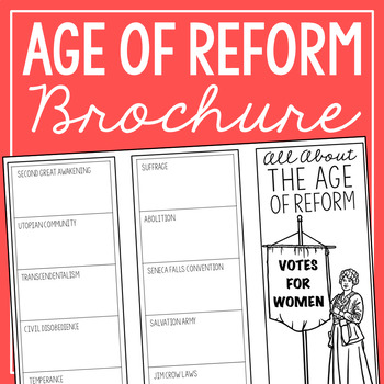 THE AGE OF REFORM Research Brochure Template, American History Project