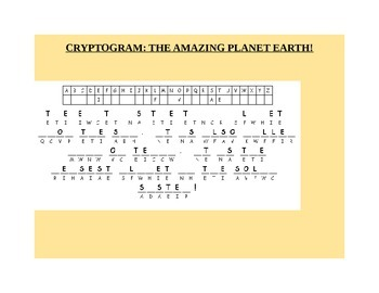 THE AMAZING PLANET EARTH- CRYPTOGRAM GRADES 4-9