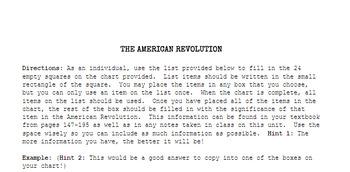 THE AMERICAN REVOLUTION: Bingo guidelines & board
