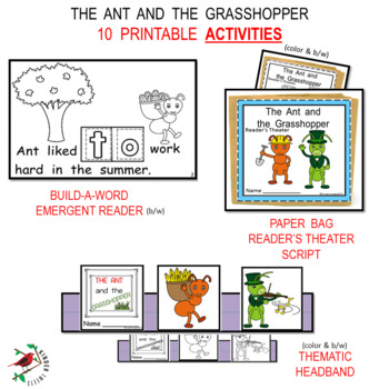 THE ANT AND THE GRASSHOPPER FABLE UNIT CENTERS FOR EMERGENT READERS