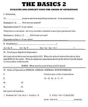 THE BASICS 2:  Evaluate and Simplify Using the Order of Operations