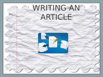 THE BASICS OF ARTICLE WRITING