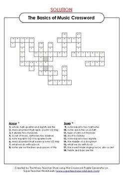 THE BASICS OF MUSIC CROSSWORD PUZZLE