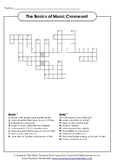 THE BASICS OF MUSIC CROSSWORD PUZZLE