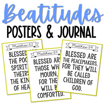 THE BEATITUDES Posters and Notebook Journal Pages, Memory Verse, Sunday School