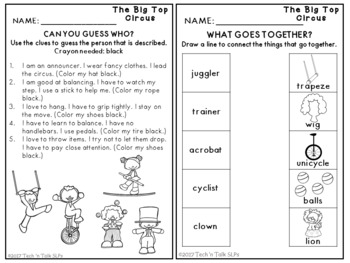THE BIG TOP CIRCUS! Language Development Lessons for Young Language Learners