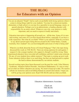 THE BLOG: For Educators with an Opinion