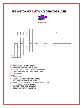 THE BOSTON TEA PARTY: A FUN QUICK PUZZLE: GRADES 3-5